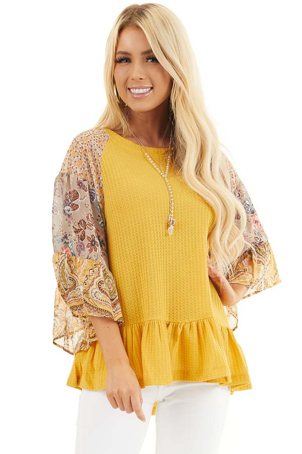 Mustard Colorblock Multiprint Top with Ruffle Trim front close up