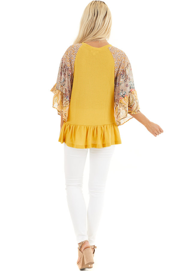 Mustard Colorblock Multiprint Top with Ruffle Trim back full body