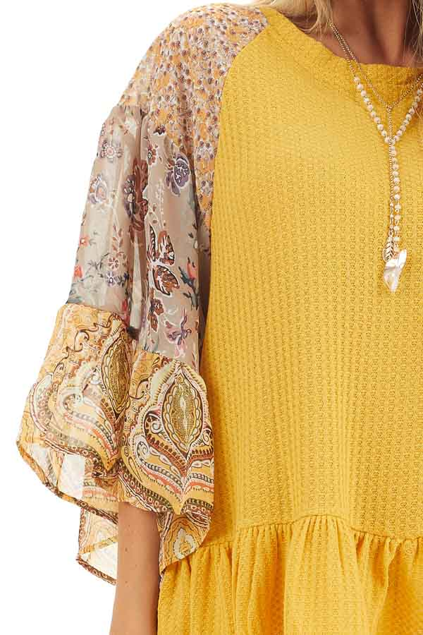 Mustard Colorblock Multiprint Top with Ruffle Trim detail