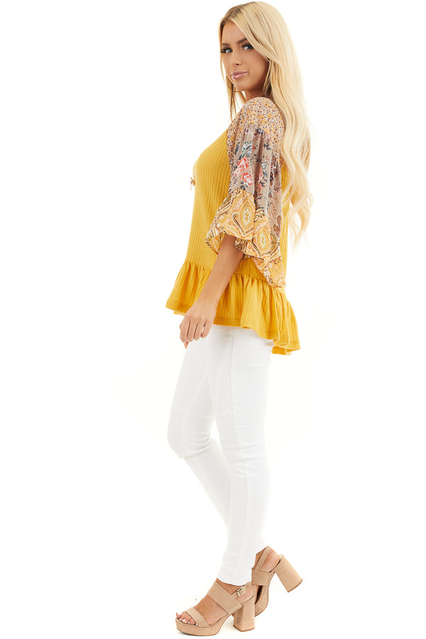Mustard Colorblock Multiprint Top with Ruffle Trim side full body