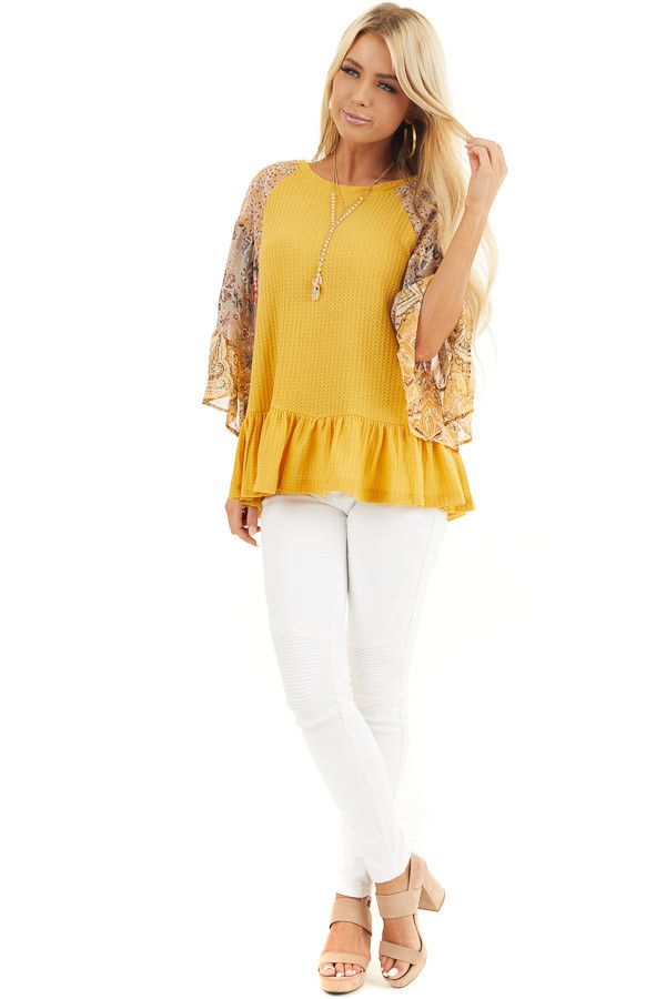 Mustard Colorblock Multiprint Top with Ruffle Trim front full body