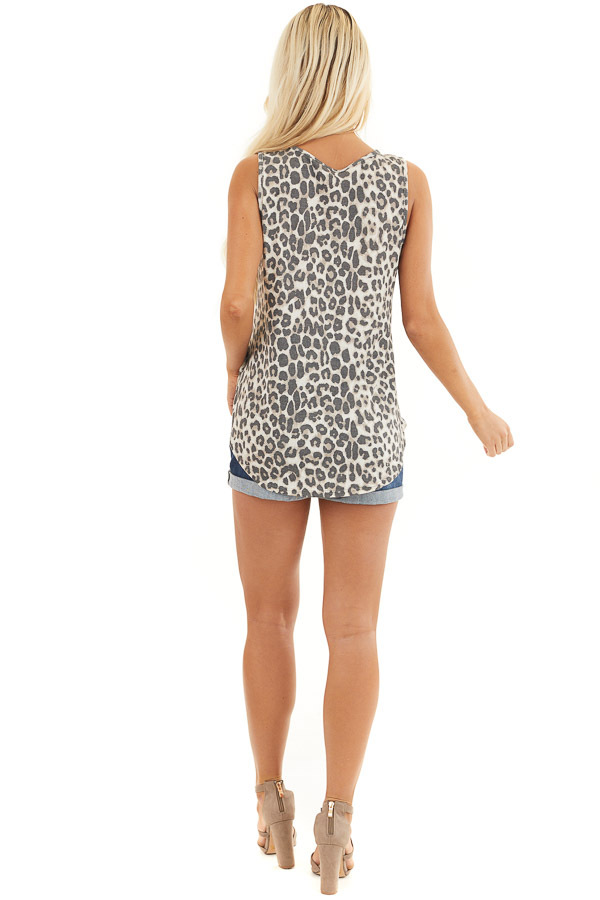 Cream Leopard Print Waffle Knit Tank with Criss Cross Detail back full body