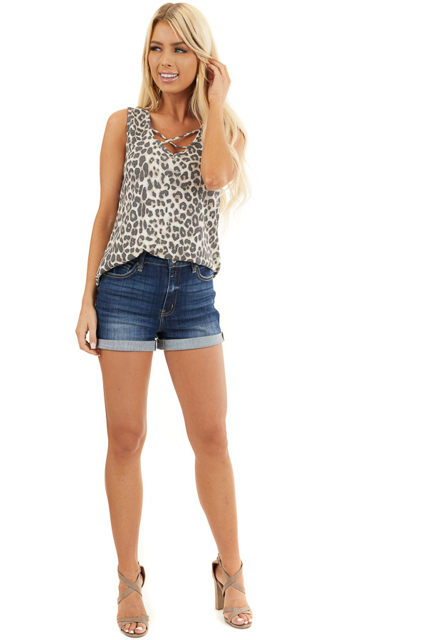 Cream Leopard Print Waffle Knit Tank with Criss Cross Detail front full body
