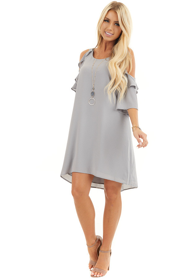Dove Grey Cold Shoulder Dress with Ruffle Detail front full body