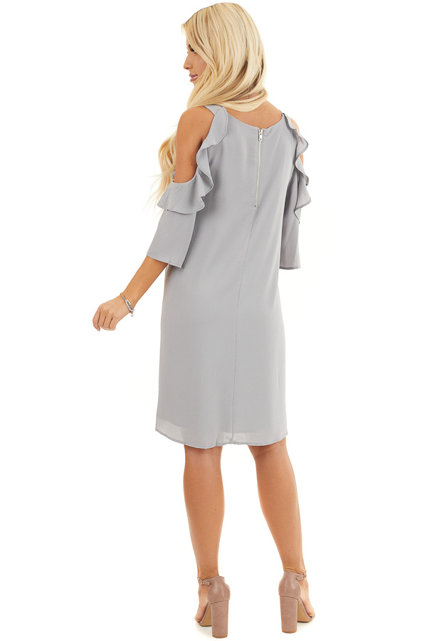 Dove Grey Cold Shoulder Dress with Ruffle Detail back full body