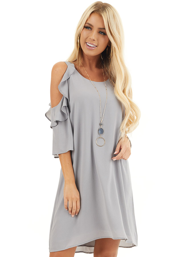 Dove Grey Cold Shoulder Dress with Ruffle Detail front close up