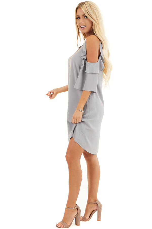 Dove Grey Cold Shoulder Dress with Ruffle Detail side full body