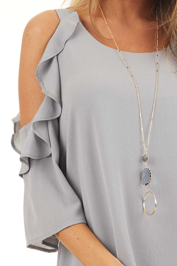 Dove Grey Cold Shoulder Dress with Ruffle Detail detail