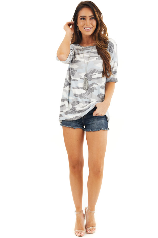 Baby Blue and Grey Camo Print Short Sleeve Tee Shirt front full body
