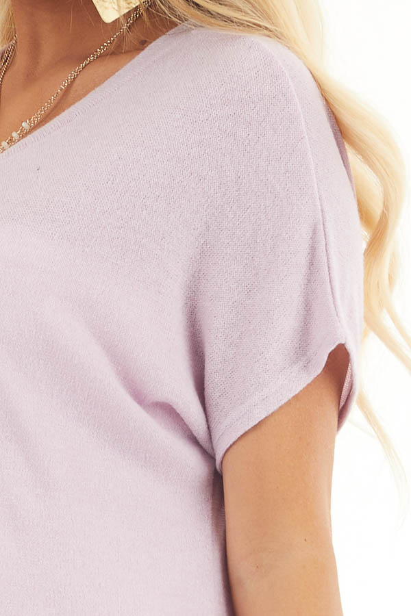 Pale Lilac Short Sleeve V Neck Tee with Rounded Hemline detail