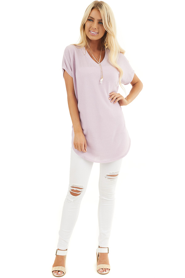 Pale Lilac Short Sleeve V Neck Tee with Rounded Hemline front full body
