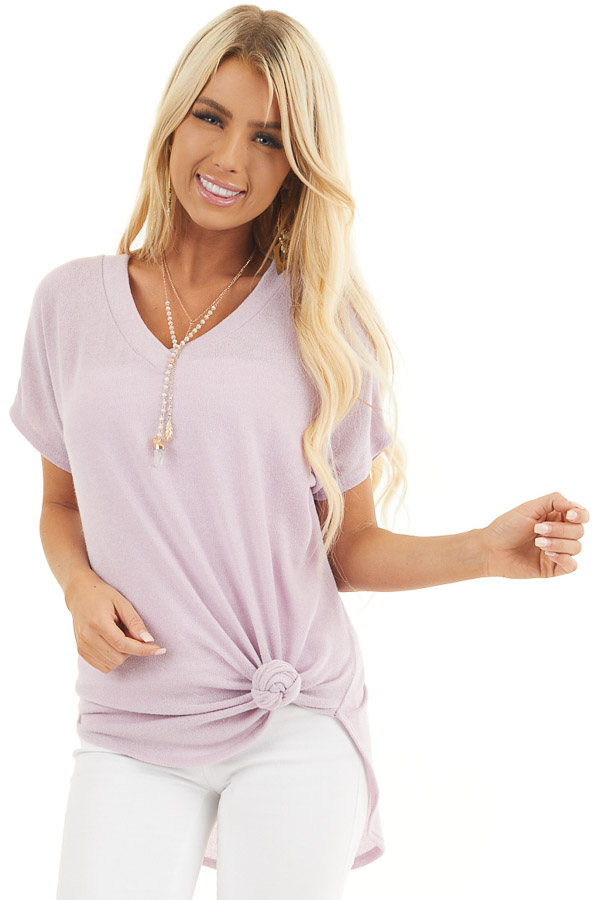 Pale Lilac Short Sleeve V Neck Tee with Rounded Hemline front close up