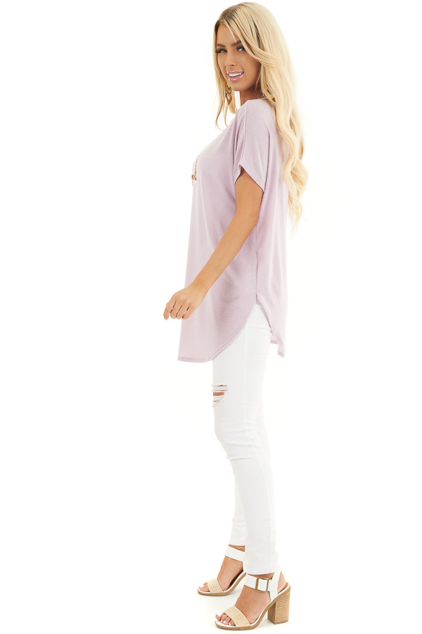 Pale Lilac Short Sleeve V Neck Tee with Rounded Hemline side full body