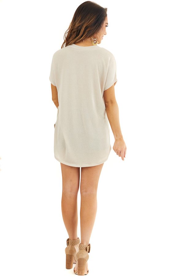Beige Short Sleeve V Neck Tee with Rounded Hemline back full body