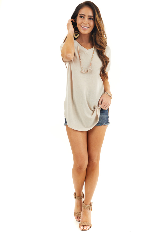 Beige Short Sleeve V Neck Tee with Rounded Hemline front full body