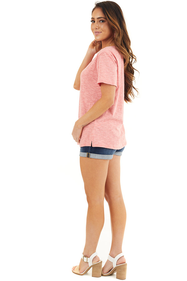 Coral Two Tone Short Sleeve Knit Top with One Cold Shoulder side full body