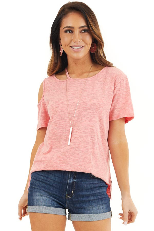 Coral Two Tone Short Sleeve Knit Top with One Cold Shoulder front close up