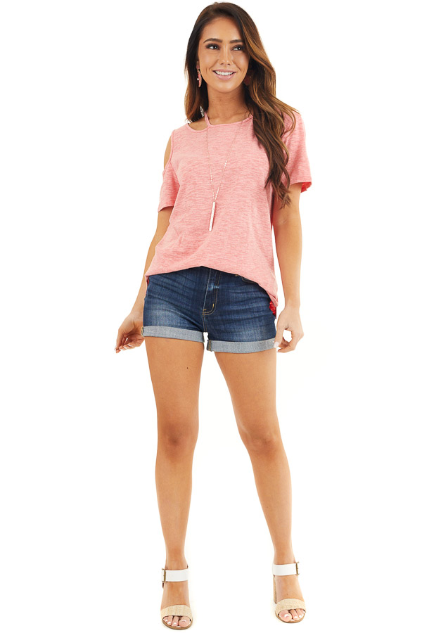 Coral Two Tone Short Sleeve Knit Top with One Cold Shoulder front full body