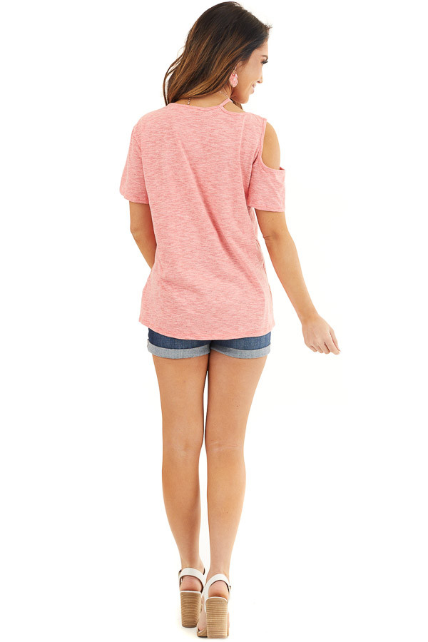 Coral Two Tone Short Sleeve Knit Top with One Cold Shoulder back full body