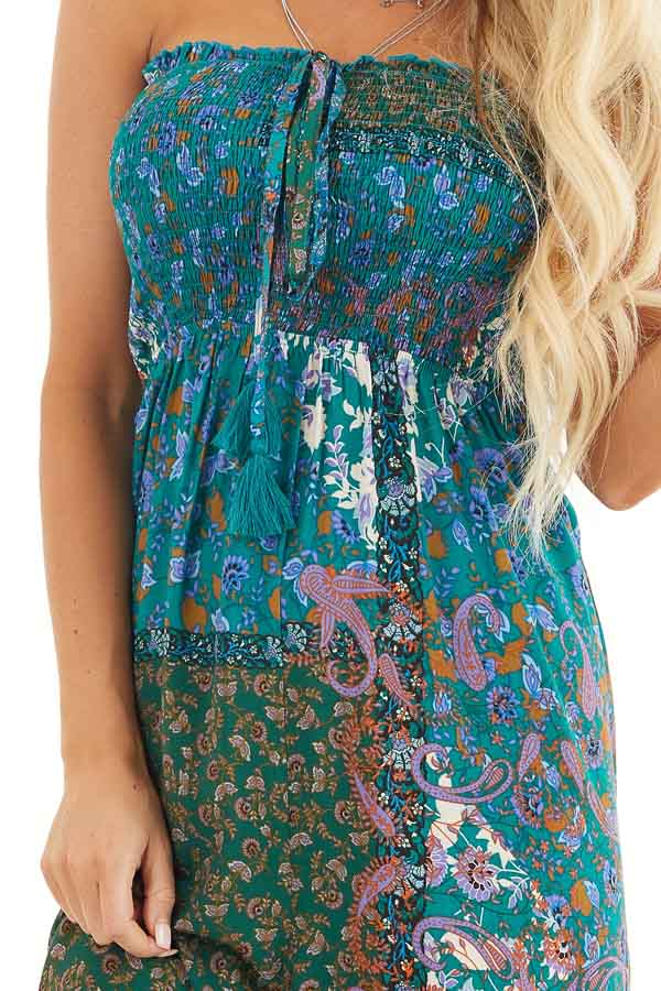 Teal Patchwork Smocked Strapless Jumpsuit with Tie Detail detail