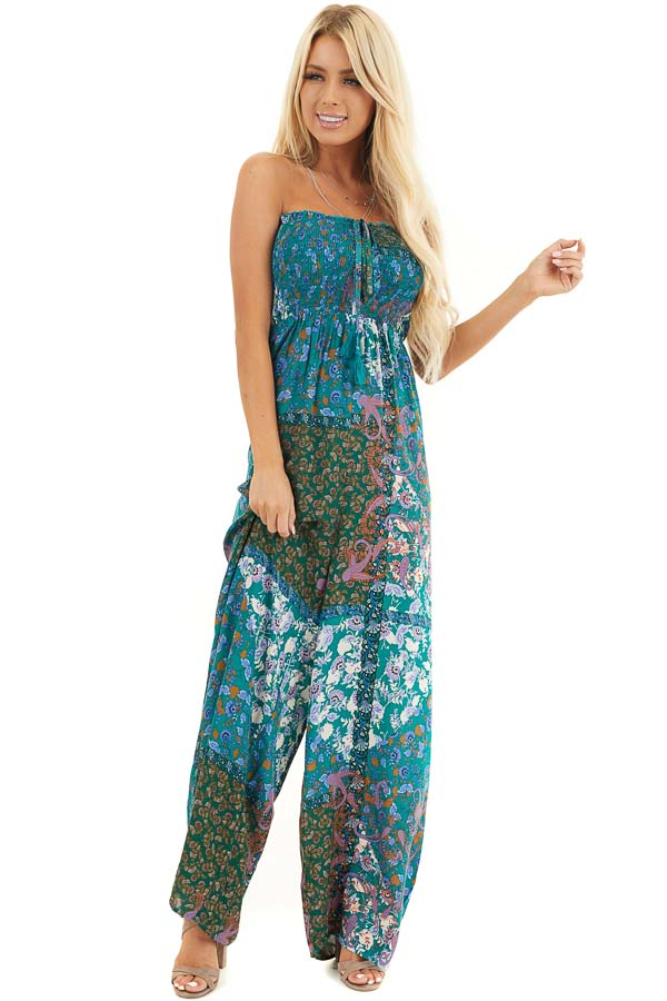 Teal Patchwork Smocked Strapless Jumpsuit with Tie Detail front full body
