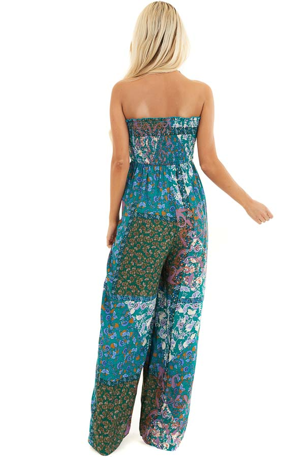 Teal Patchwork Smocked Strapless Jumpsuit with Tie Detail back full body
