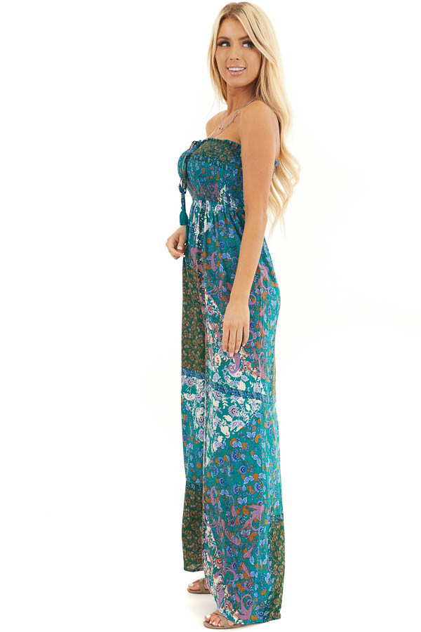 Teal Patchwork Smocked Strapless Jumpsuit with Tie Detail side full body