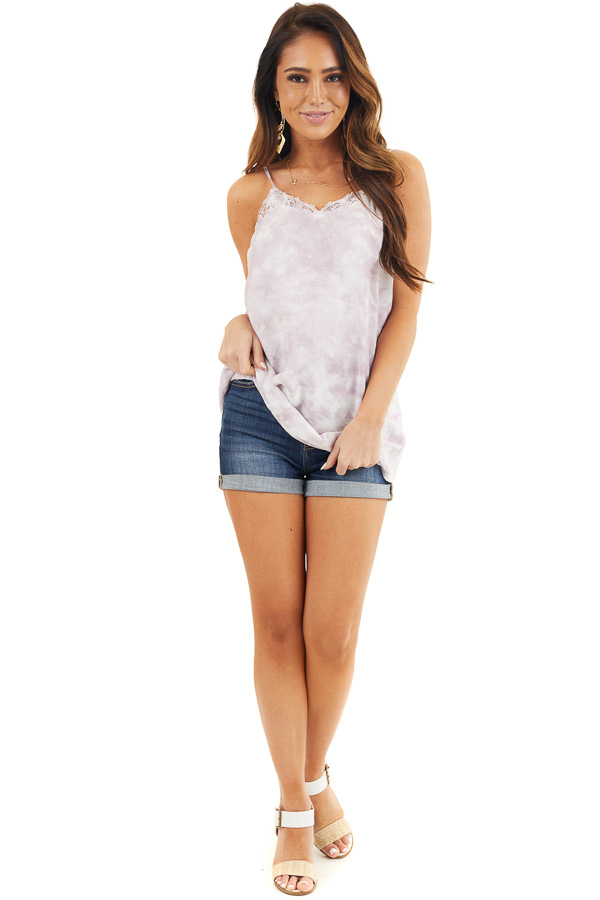 Light Lilac and White Tie Dye Tank with Lace Trim Neckline front full body