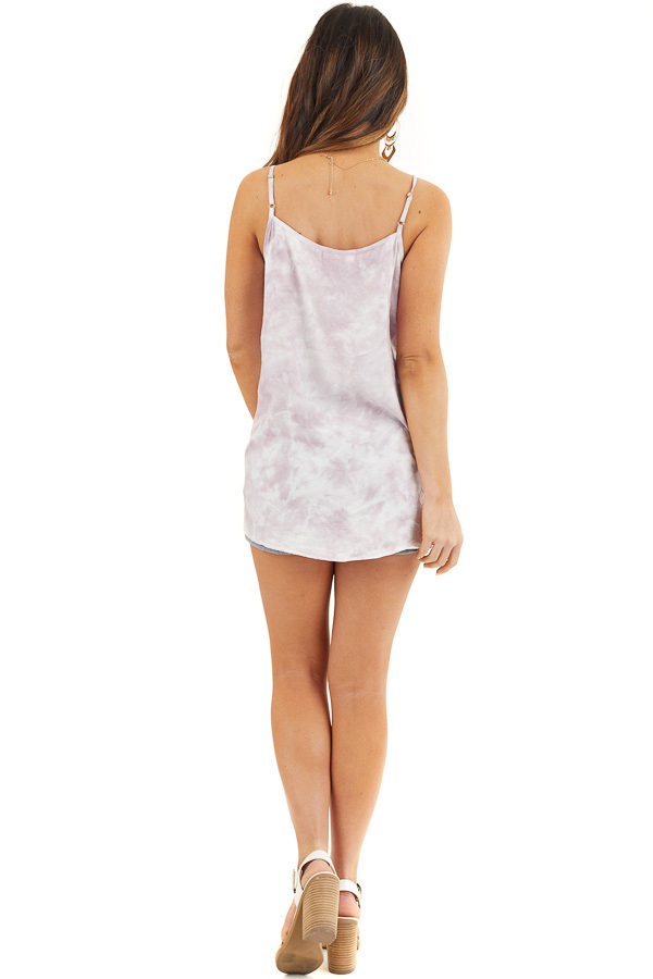 Light Lilac and White Tie Dye Tank with Lace Trim Neckline back full body