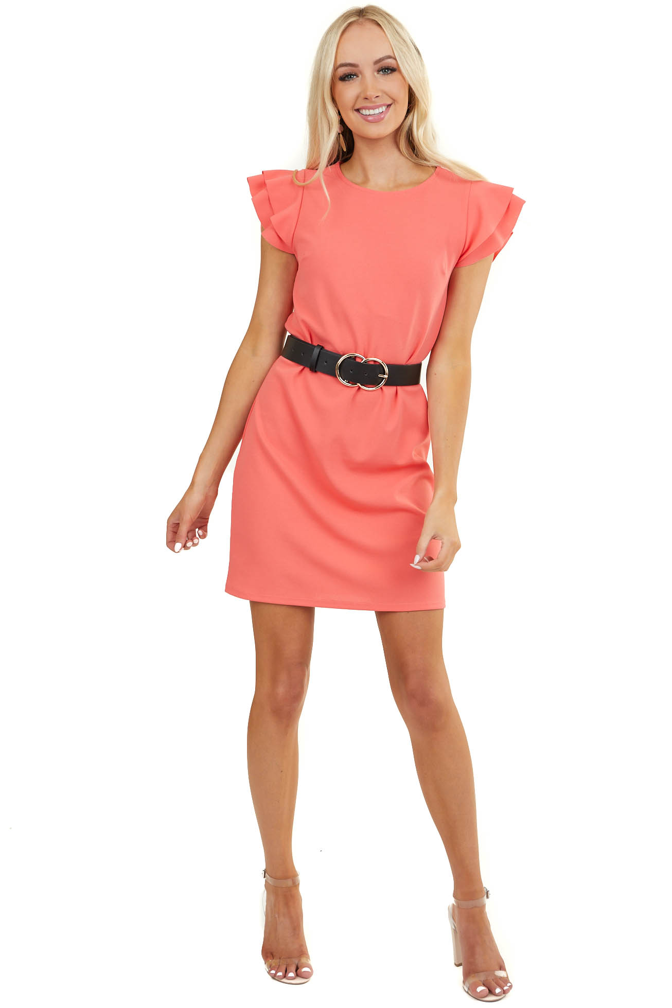 Coral Knit Short Dress with Layered Ruffle Cap Sleeves