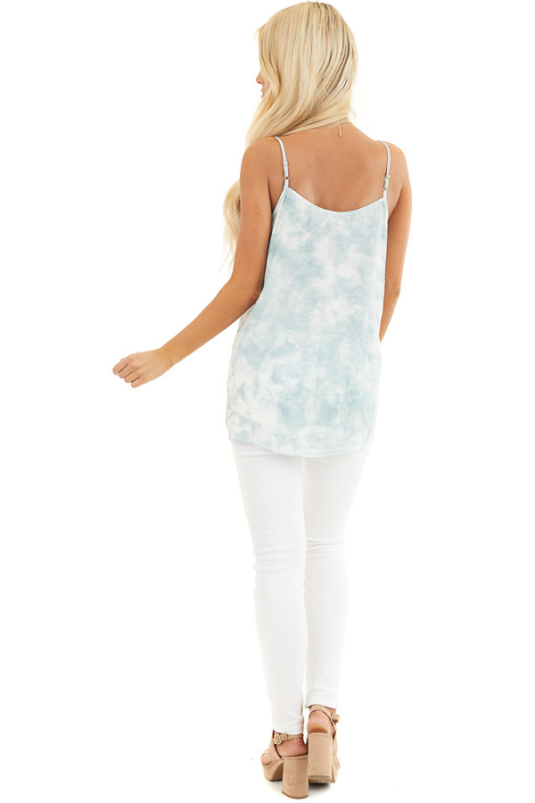 Faded Sage and White Tie Dye Tank with Lace Trim Neckline back full body