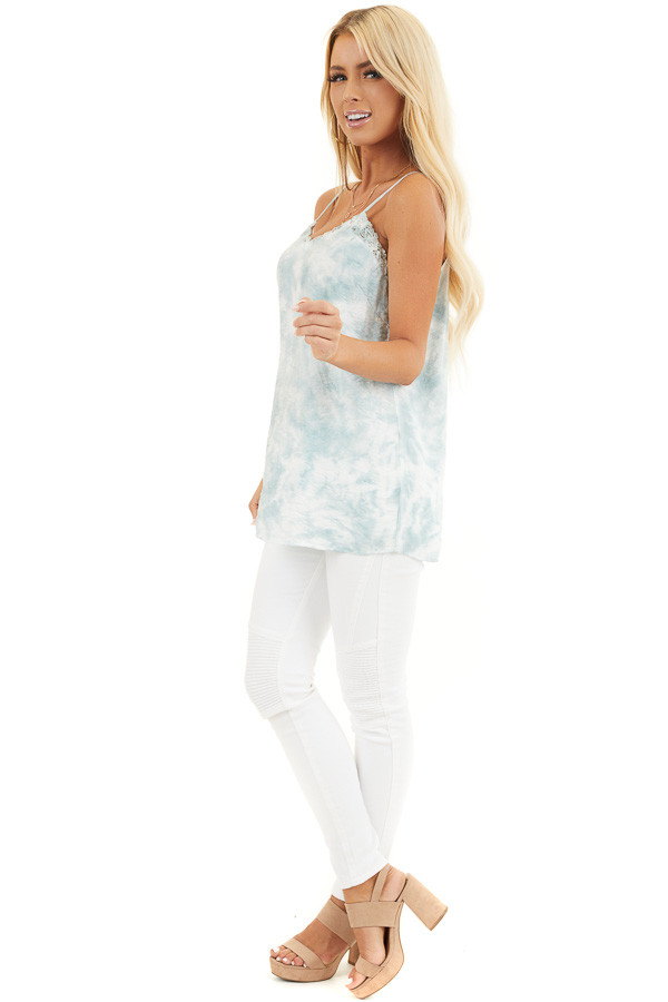 Faded Sage and White Tie Dye Tank with Lace Trim Neckline side full body