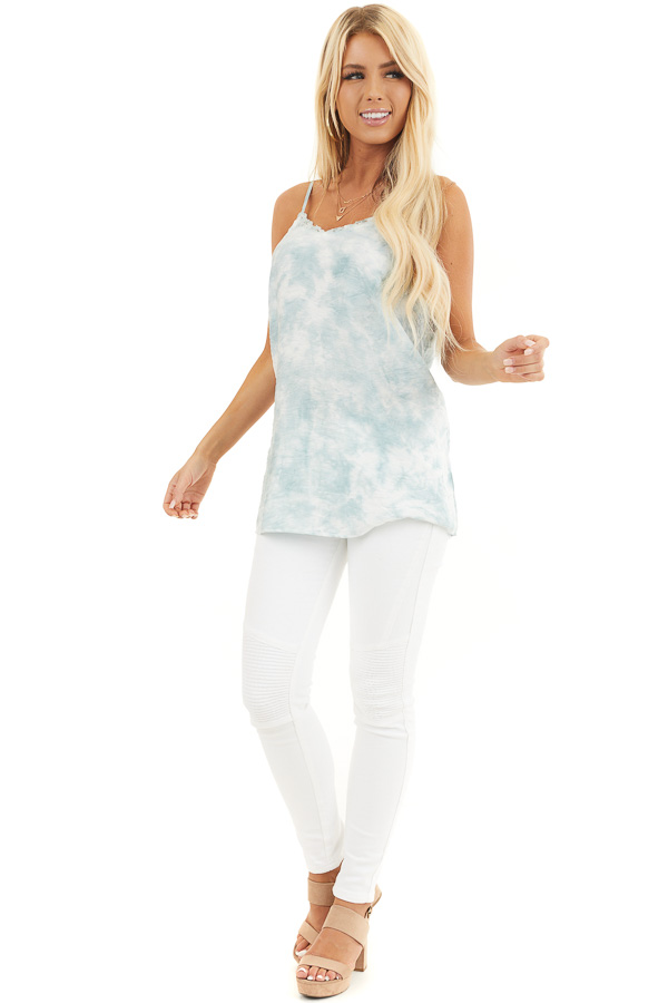Faded Sage and White Tie Dye Tank with Lace Trim Neckline front full body