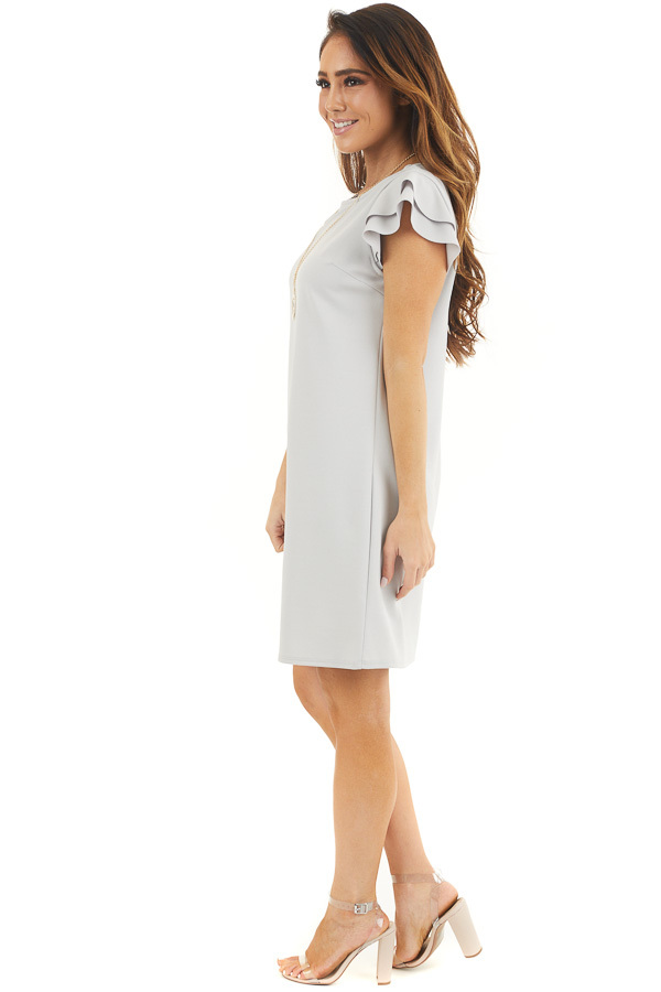 Dove Grey Knit Short Dress with Layered Ruffle Cap Sleeves side full body