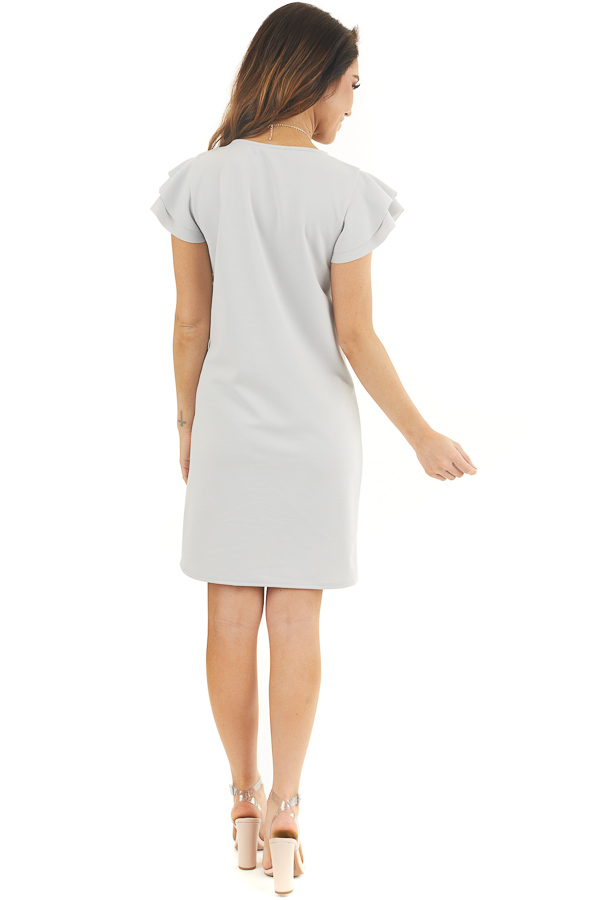 Dove Grey Knit Short Dress with Layered Ruffle Cap Sleeves back full body