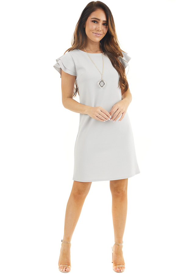 Dove Grey Knit Short Dress with Layered Ruffle Cap Sleeves front full body