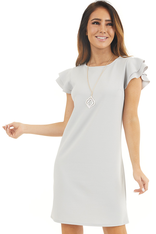 Dove Grey Knit Short Dress with Layered Ruffle Cap Sleeves front close up