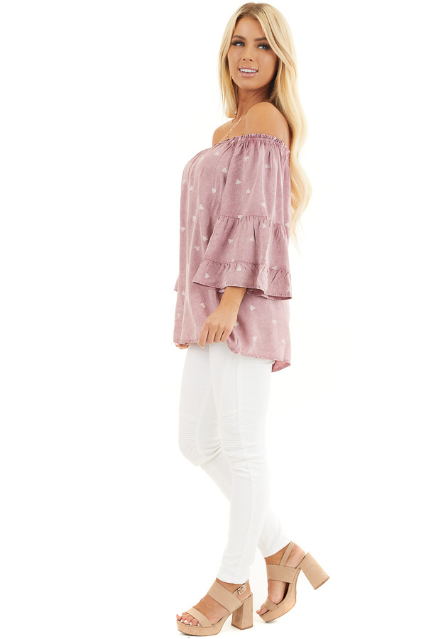 Dusty Blush Off Shoulder Mineral Wash Top with Heart Design side full body