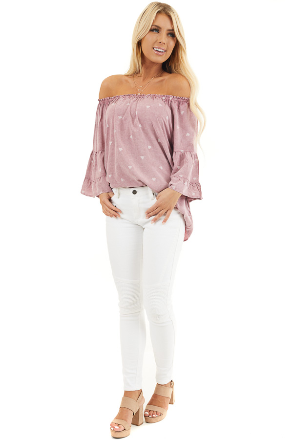 Dusty Blush Off Shoulder Mineral Wash Top with Heart Design front full body