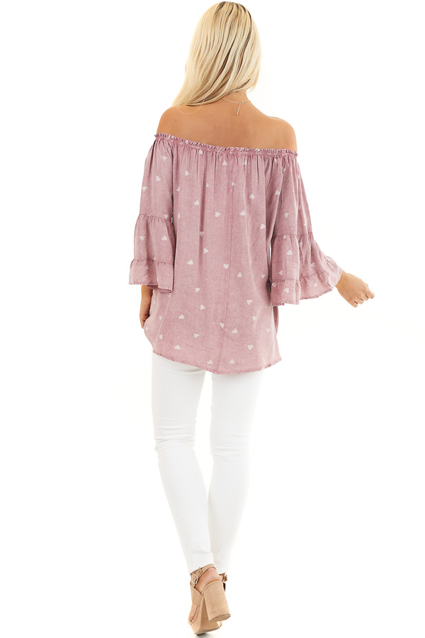 Dusty Blush Off Shoulder Mineral Wash Top with Heart Design back full body
