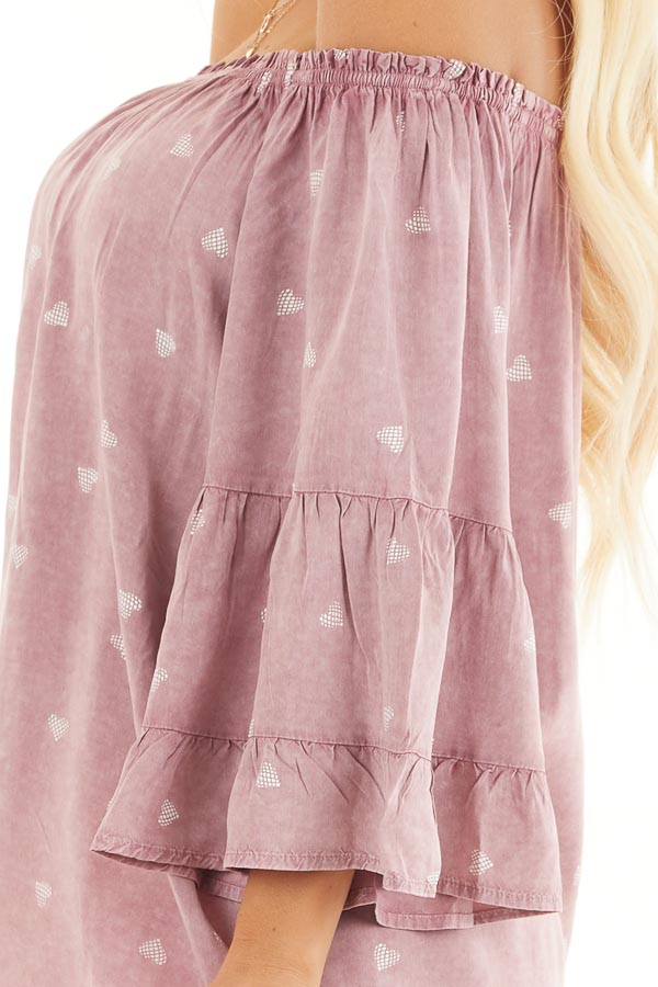 Dusty Blush Off Shoulder Mineral Wash Top with Heart Design detail