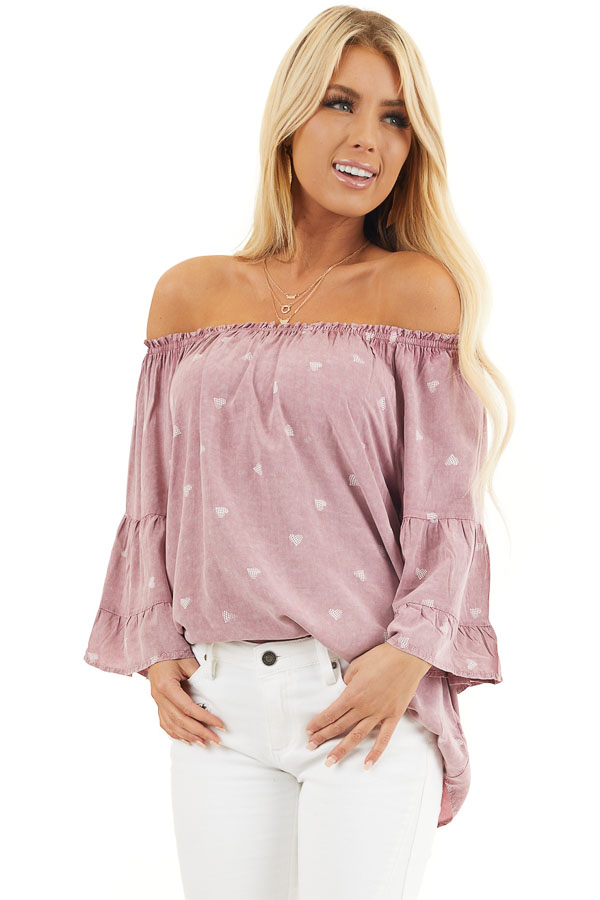 Dusty Blush Off Shoulder Mineral Wash Top with Heart Design front close up