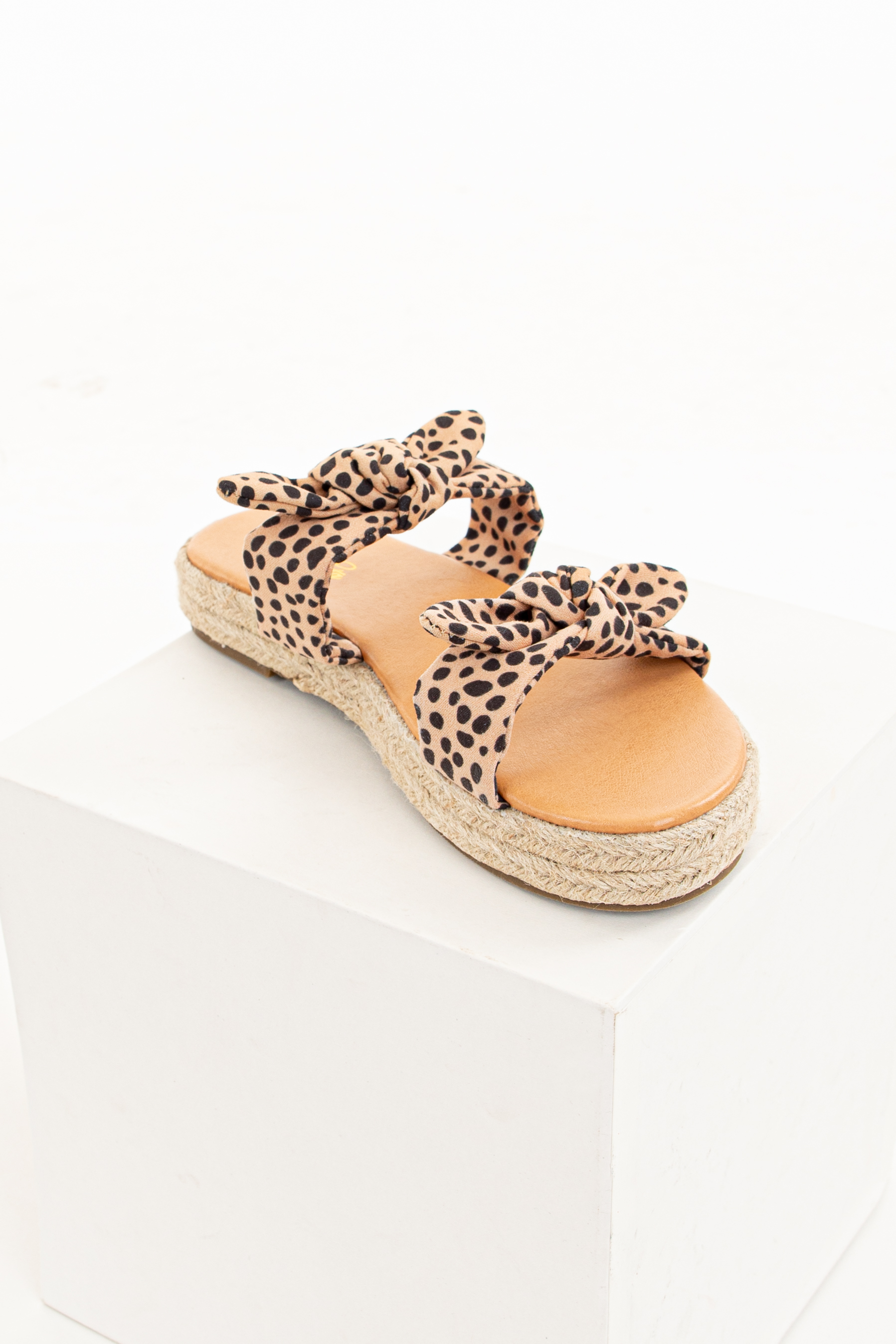 Tan Cheetah Print Double Strap Espadrille Sandals with Ties