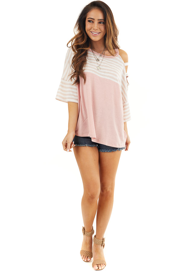 Blush Striped Knit Top with Ladder Cutout Short Sleeves front full body
