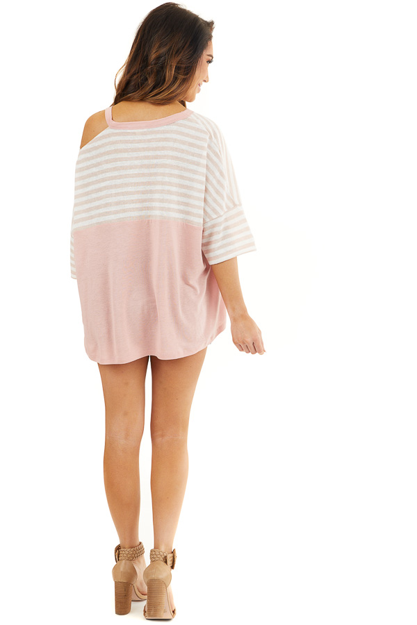 Blush Striped Knit Top with Ladder Cutout Short Sleeves back full body