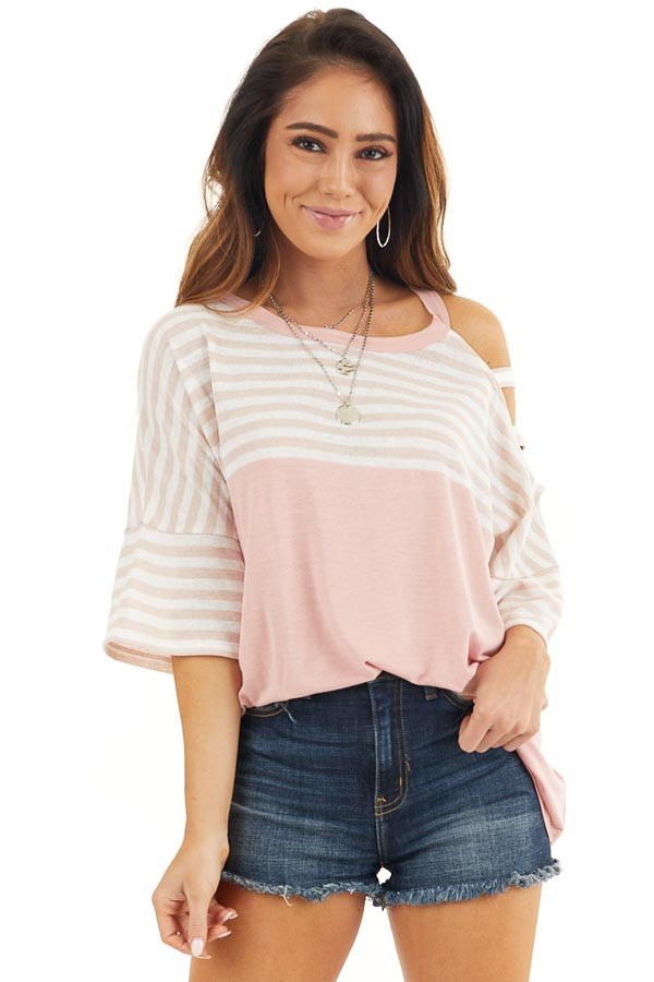 Blush Striped Knit Top with Ladder Cutout Short Sleeves front close up