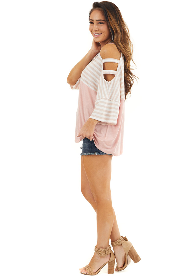 Blush Striped Knit Top with Ladder Cutout Short Sleeves side full body