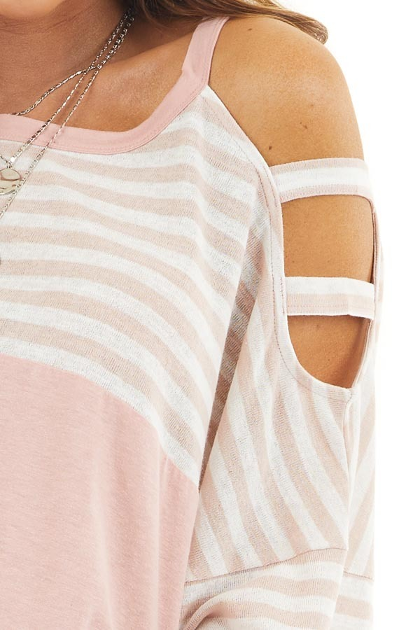 Blush Striped Knit Top with Ladder Cutout Short Sleeves detail