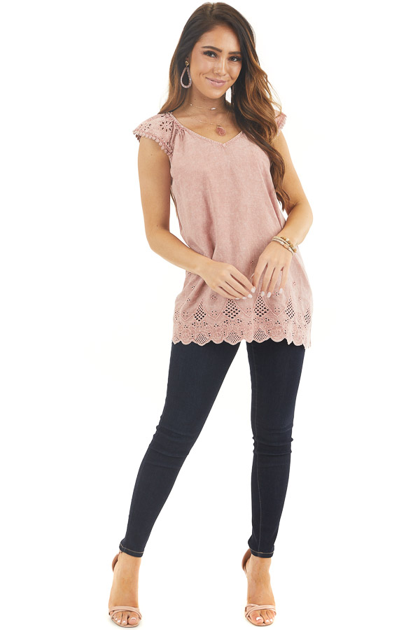 Faded Rose V Neck Top with Eyelet Lace Sleeves and Hemline front full body