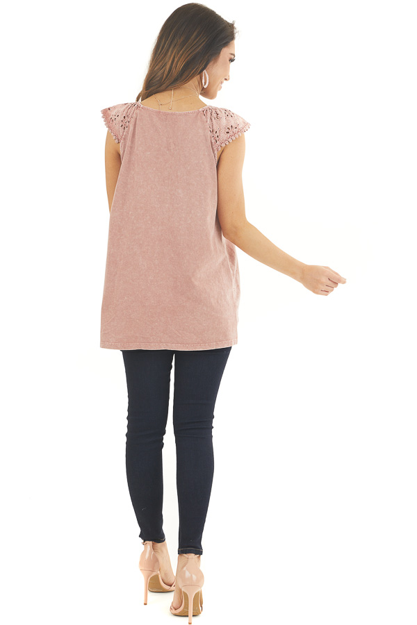 Faded Rose V Neck Top with Eyelet Lace Sleeves and Hemline back full body